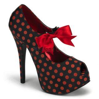 Chaussures à lacets escarpins polka Peep Toe à talon haut teeze-25