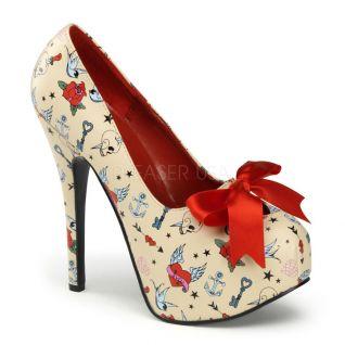 Chaussures originales escarpins beiges à lacet satin talon haut teeze-12-3