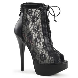 Escarpins bottines satin noir