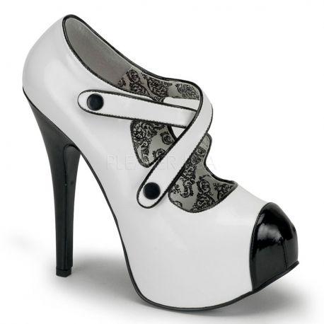 Escarpin blanc et noir à brides talon plateforme TEEZE-23