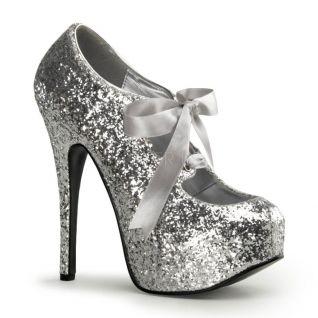 Chaussures à lacets escarpins coloris argent pailleté talon haut teeze-10g