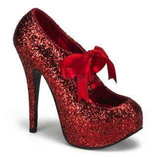 Chaussures à lacets escarpins haut talon rouges pailletés teeze-10g