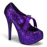 Souliers à lacets escarpins violets pailletés talon haut teeze-10g