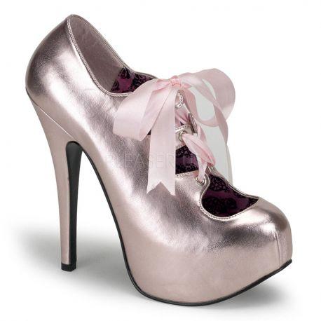 Chaussures escarpins champagnes vernis talon plateforme TEEZE-09