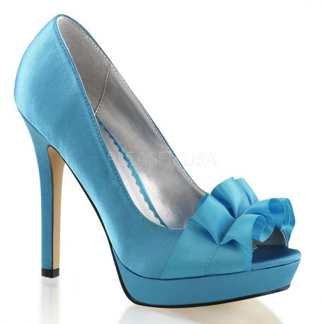 Chaussures en satin escarpin Peep Toe turquoise lumina-42