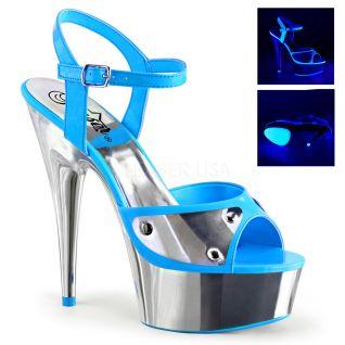 Sandale Pole Dance talon plateforme coloris bleu delight-609nc