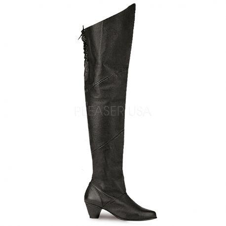 Cuissardes mixtes en cuir noir maiden-8828