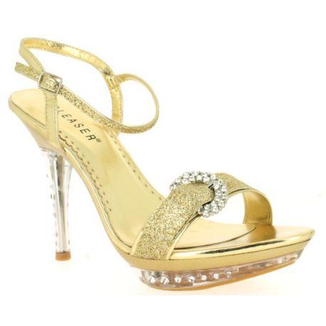 Sandale de mariage coloris or petit talon