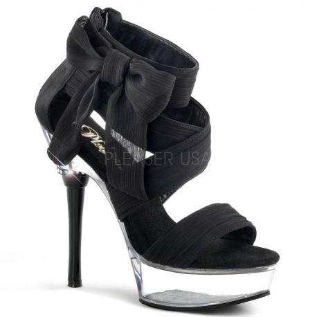 Sandale de soirée en satin noir talon haut ALLURE-664