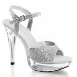 Chaussures de soirée nu-pieds à brides cheville coloris argent cocktail-509
