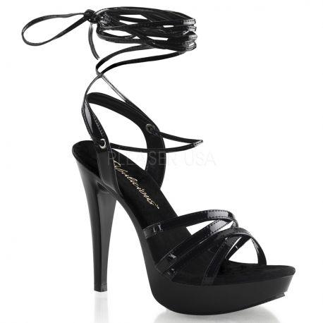Chaussures à lacet sandales spartiates noires à talon haut