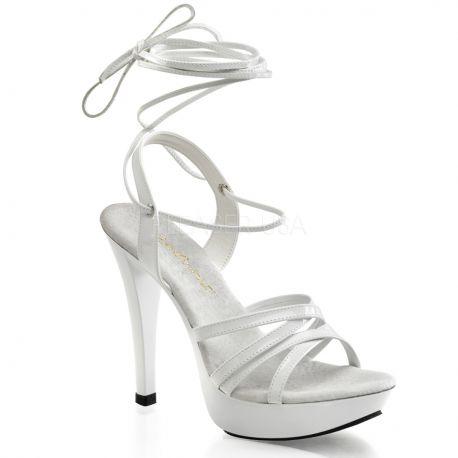 Chaussures d'été sandales blanches à lacet talon haut