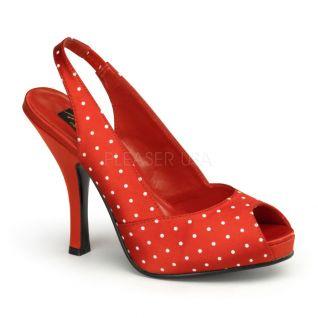 Sandales en Satin Rouge à Pois Blancs Talon Haut CUTIEPIE-03