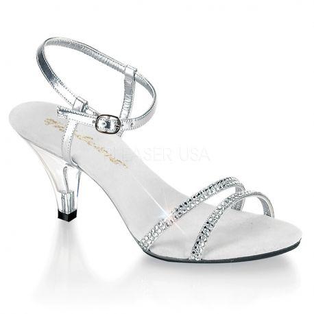 Sandales argentées à petit talon transparent BELLE-316