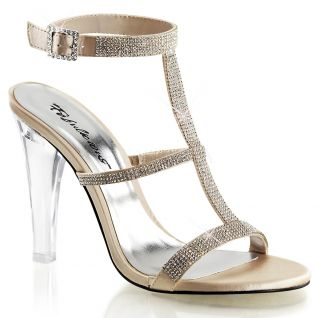 Chaussures à strass sandales coloris champagne talon haut clearly-418
