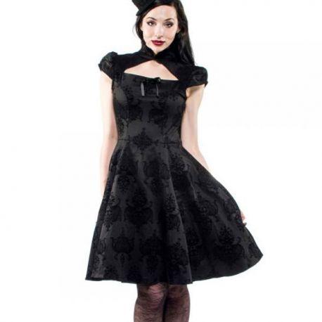 Robe avasée noire à faux jupon