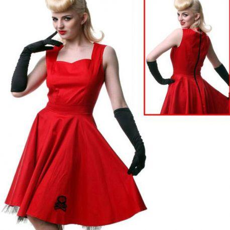 Robe rouge évasée style Pinup