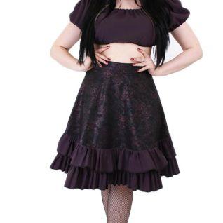Jupe gothique mi-longue coloris noir et rose