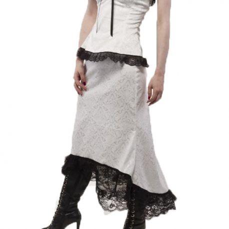 Jupe Steampunk asymétrique coloris blanc et noir