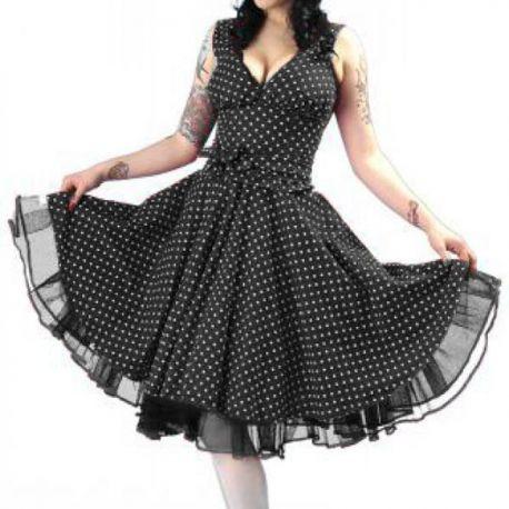 Robe Pinup coloris polka noir et blanc