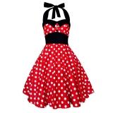 Robe vintage coloris polka rouge et blanc