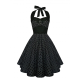 Robe Pinup coloris noir pois blancs