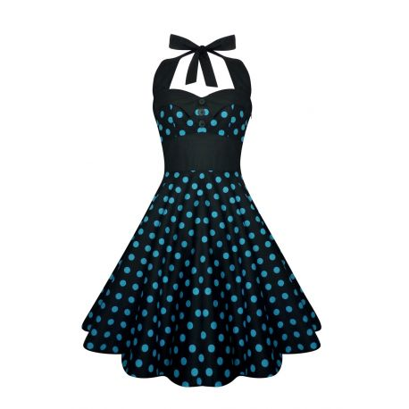Robe polka noir à pois bleu