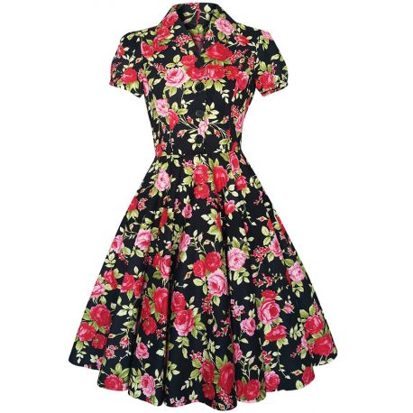 Robe vintage évasée motif fleuri