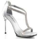 Chaussures argentées sandales strass talon aiguille chic-21
