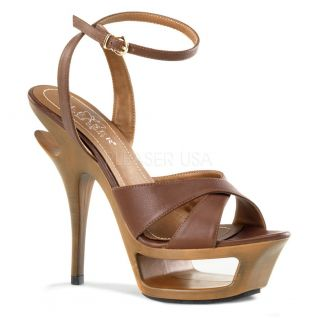 Sandales de Luxe en Cuir Caramel Talon Plateforme DELUXE-630