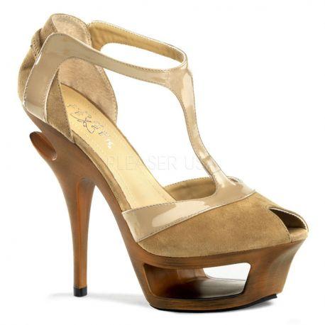 Sandale haute couture en microfibre caramel talon haut DELUXE-682