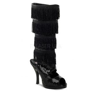 Sandales bottines noires à paillettes talon aiguille FLAPPER-168