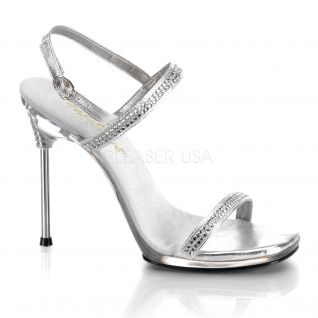 Sandales à Brides Argent & Strass Talon Métal CHIC-17