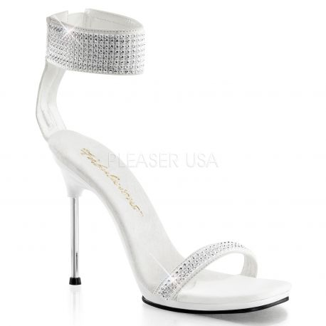 Chaussures sandales blanches à large bride de cheville talon fin chic-40