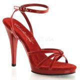 Chaussures sandales rouges fines brides talon entonnoir flair-436