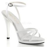 Chaussures blanches vernies sandales à brides croisées talon haut flair-436