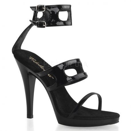 Sandales à double brides noires vernies talon haut FLAIR-458