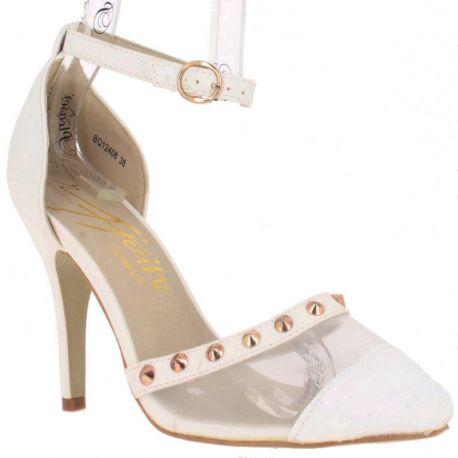 Chaussures de mariage escarpins d'Orsay blancs à bride talon aiguille
