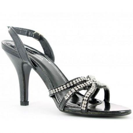 Sandales noires à strass talon haut