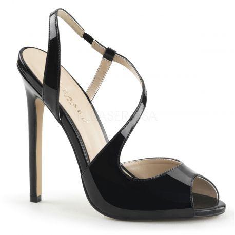 Sandales asymétriques noires vernies talon fin sexy-10