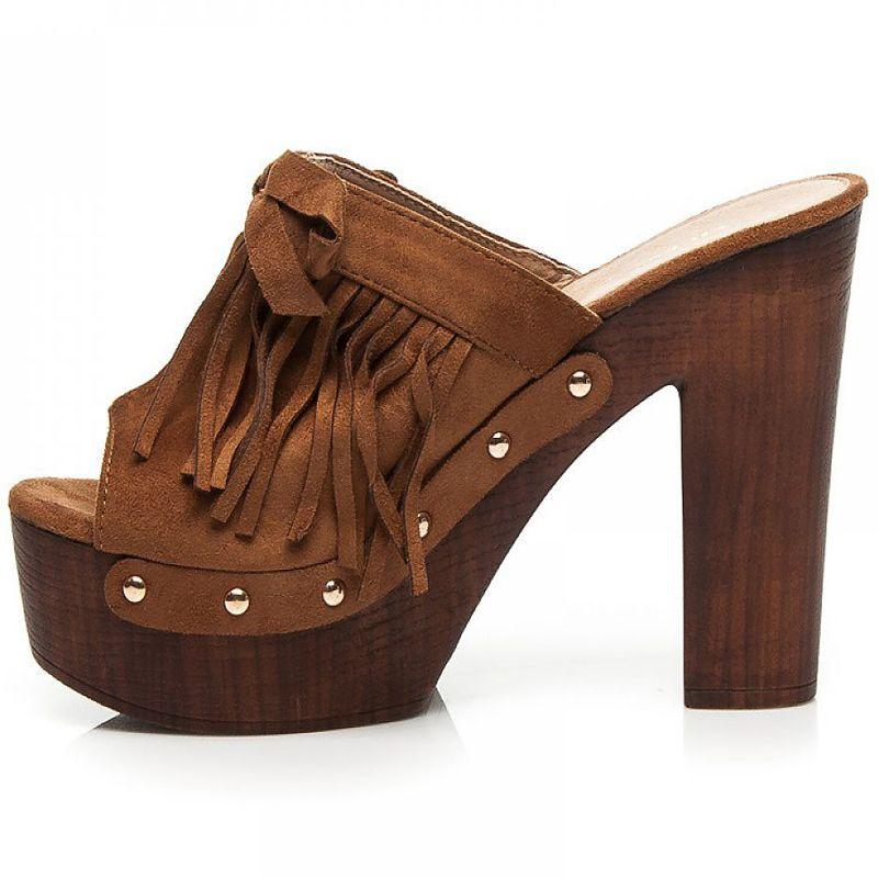 commander mule femme marron talon haut en bois. Black Bedroom Furniture Sets. Home Design Ideas