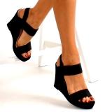 Sandales noires talon compensé