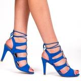 Nu-pied bleu à lacet talon haut