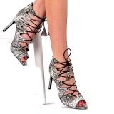 Sandales à lacet imitation serpent
