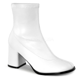 Bottines blanches talon rétro carré gogo-150