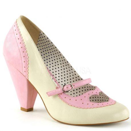 Escarpins à brides coloris beige et rose poppy-18