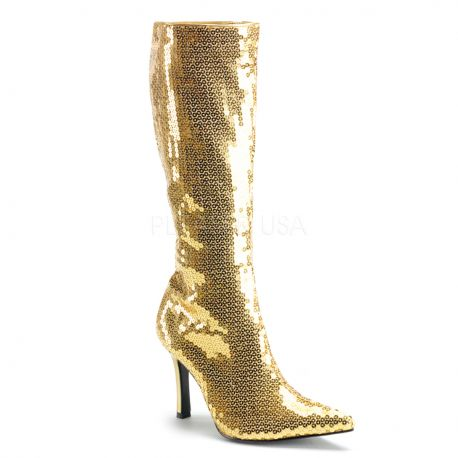 souliers sequins dor s botte disco or talon aiguille chaussure spectacle. Black Bedroom Furniture Sets. Home Design Ideas