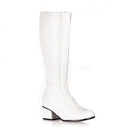 Chaussure blanche vernie botte à talon large gogo