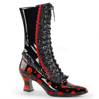 Bottines rétro à lacet coloris noir et rouge