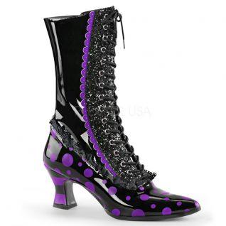 Bottines à talon bobine coloris noir et violet